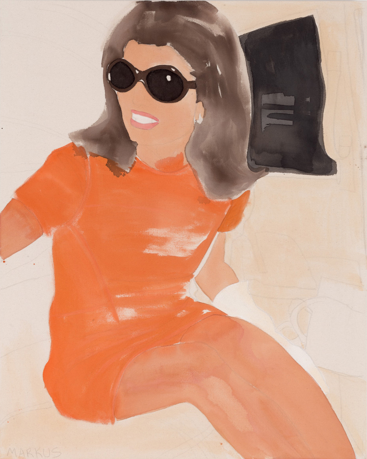 "Jackie (2015) Acrylic and pencil on unprimed canvas 32"" x 45"""