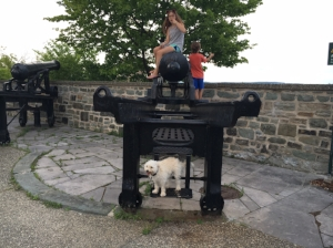 Cannons that once protected the city make great playgrounds for kids and Boozle too!