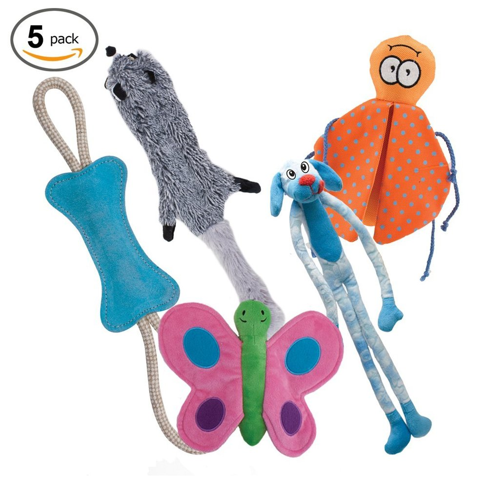 Dog Toys Value 5 Pack for Puppy, Small & Medium Dogs from Dawgeee