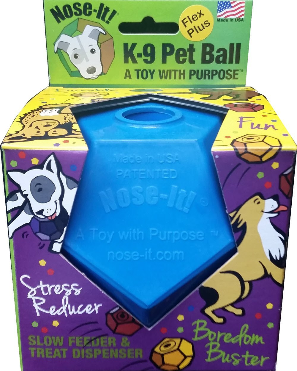 "Nose-It K-9 Pet Ball Flex Plus Blue ""A Toy with Purpose"""