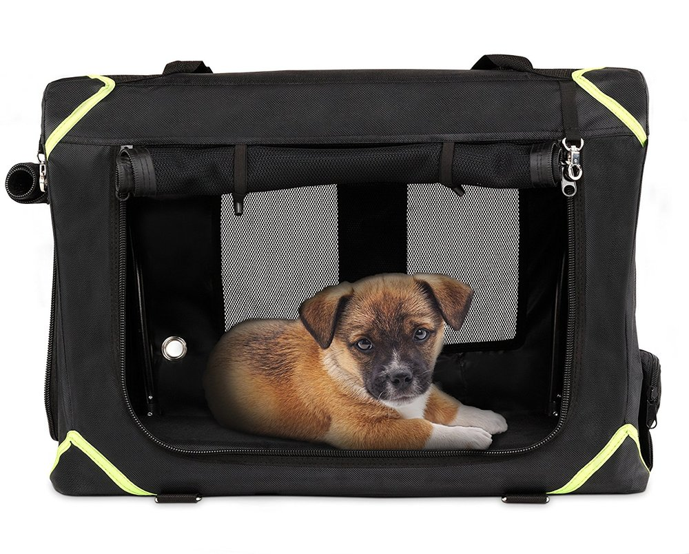 Durable Den Soft Travel Dog Crate: Waterproof Nylon Shell & Super Strong Mesh Rollup Windows with Bonus Waterproof Pet Bed