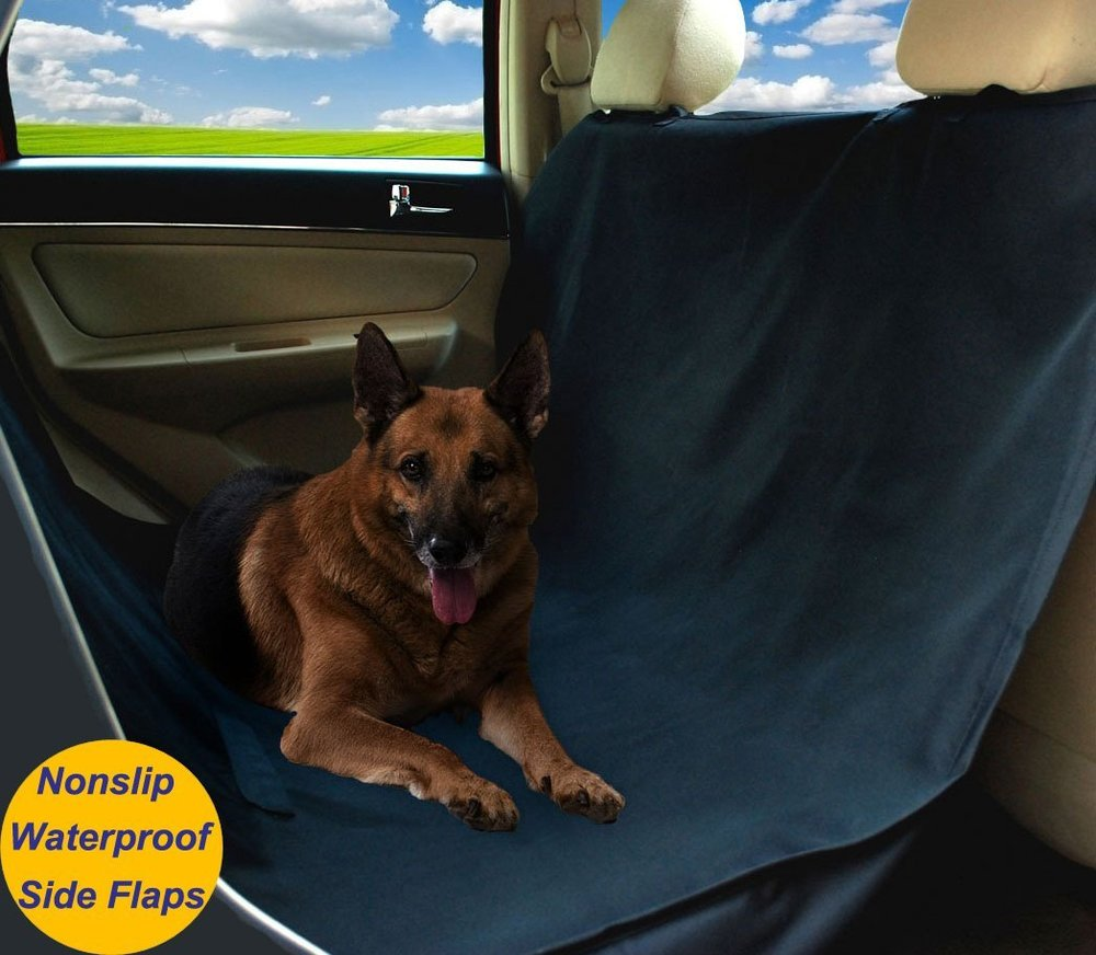 Warmland Waterproof Hammock Pet Car Seat Cover, Nonslip, Slits for Pet Seat Belt, Dog Seat Cover with Side Flaps to Protect Entire Seat