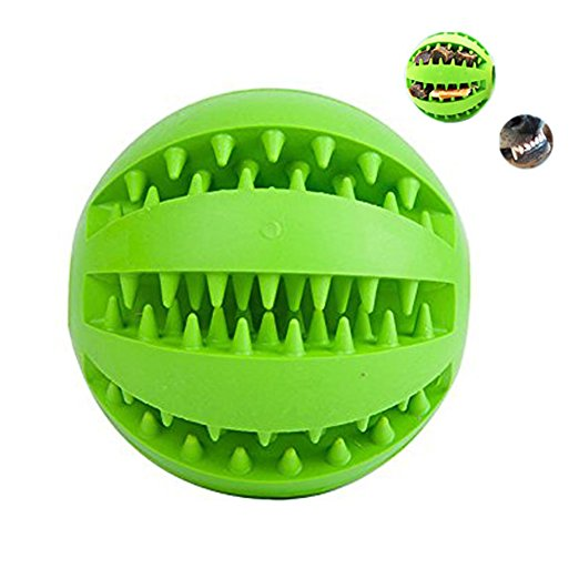 Pets Bouncy Rubber Interactive Dog Toys Tooth Brushing Cleaning Treat IQ Balls Crewing Toys for Dog Training Playing 2.8In Green