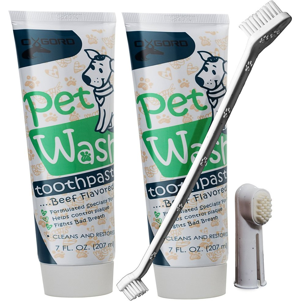 OxGord 14 oz. Pet Dog Toothpaste Dental Care Kit with Dual Toothbrush for Oral Hygiene-Fights Plaque Freshens Breath- Cleans and Restores-2 pack – Beef Flavor