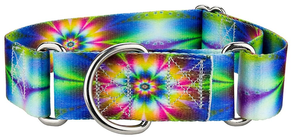 Country Brook Design 1 1/2 Inch Tie Dye Flowers Martingale Dog Collar - Medium