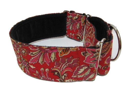 "Martingale Dog Collar! Red Spring Flowers Pattern, Greyhound, 13""-18""/12""-16"""