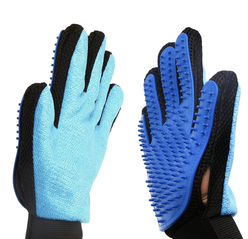 2-in-1 Pet Glove: Grooming Tool + Furniture Pet Hair Remover Mitt Pet Grooming Glove Brush Mitt Shedding Glove Tool Pet Massage Glove Bathing Brush Comb for Dogs, Cats, Horses, Bunnies