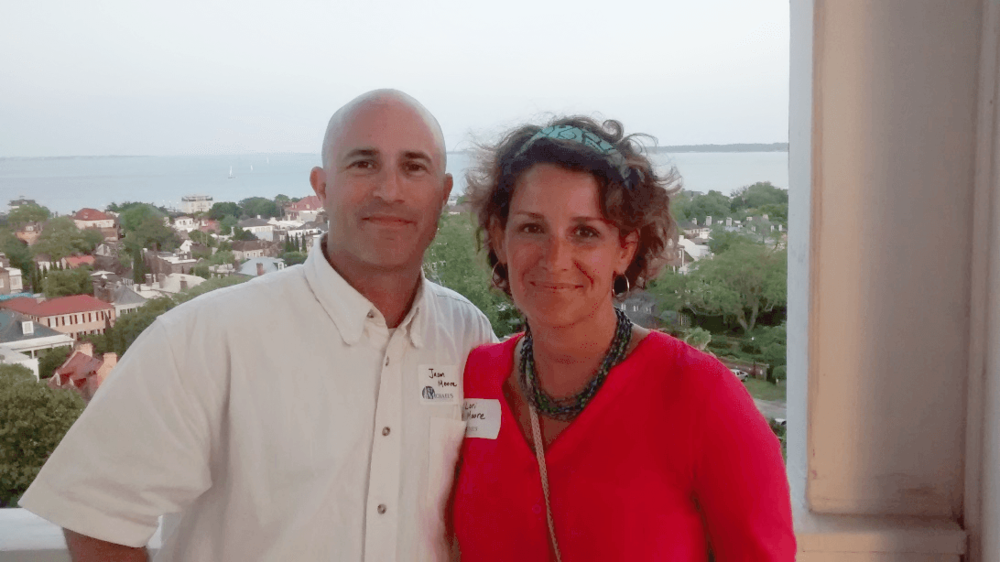 Lori with husband Jason – The Holy City from St. Michael's Church Steeple
