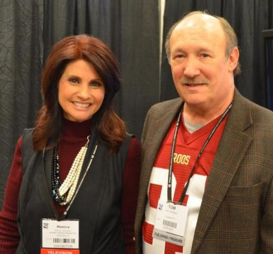 Dr. Emmet C. (Tom) Thompson II met with media and industry leaders during the recent NRB convention in Nashville to discuss his book,  Kick Start .   Pictured (L to R): Monica Schmelter, producer of CTN's Bridges, with Thompson at NRB 2016. (McCain & Co. Public Relations photo)