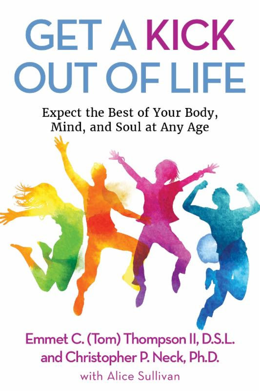 Author, professor, researcher, motivational speaker, coach and NCAA record breaker, Dr. Emmet C. (Tom) Thompson II, recently released the digital version of his latest book,  Get a Kick Out of Life . (Cover design courtesy of Clovercroft Publishing)