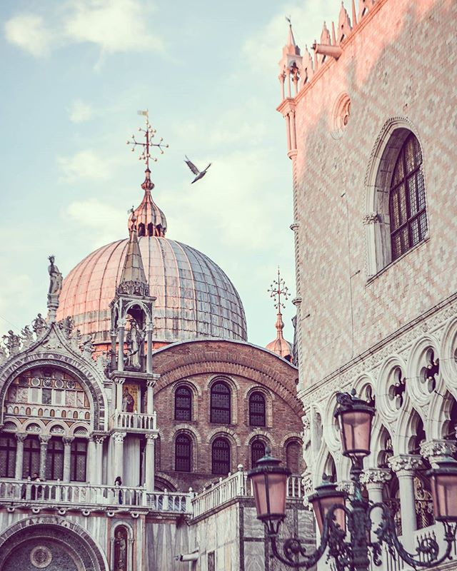Sunset at St Mark's Basilica, Venice, Italy. (Just in case you're wondering, the street lamps are really pink. Real life.) #travelblog #travel #travelbug #travelgram #instagood #instadaily #picoftheday #destination #potd #igdaily #vacation #culture #basilica #italy #art #venice #instavenice #instaitaly #history #goals #tripofalifetime #europe #livingthedream #tbt