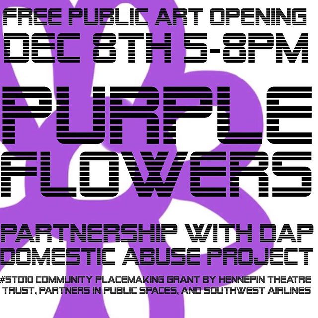 This Thursday Opening 5-8pm #purpleflowersurvivors #purpleflowerDAP #domesticviolenceawareness