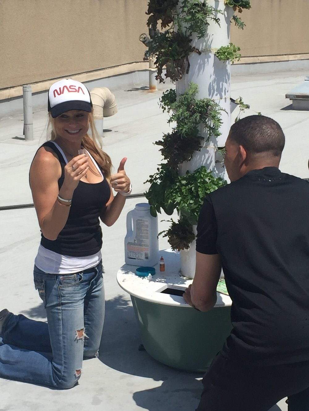 Edible Aeroponic Garden. Rooftop LA Mission, Skid Row.