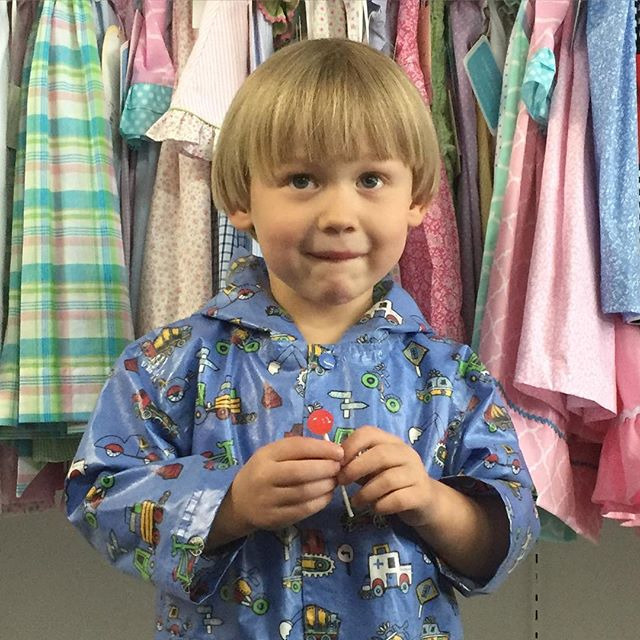 Rain won't stop this little man... Especially with a rain jacket and lollipop from @helenschildrensshop  Call to order, 615.292.3576 #nashville #childrensboutique #nashvillemom #nashvilleshopping #nashvillekids #shoplocal #shoplocalnashville #childrensclothing #rain #raingear