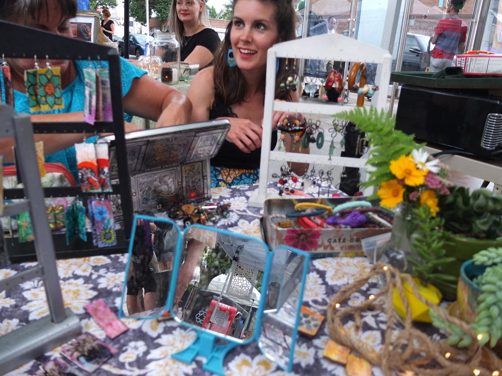 Melissa and her beautiful one-of-a kind collection. Making a live appearance at the Somerville Flea Night Market.