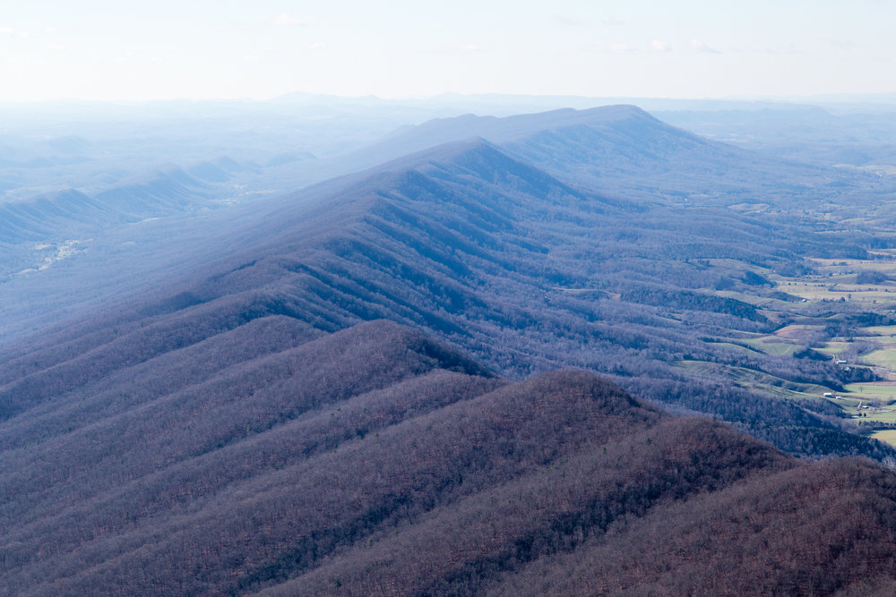 Appalachian mountain ridge, southwestern Virginia.