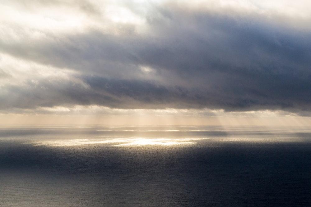Morning light over the Atlantic off the Carolina coast.