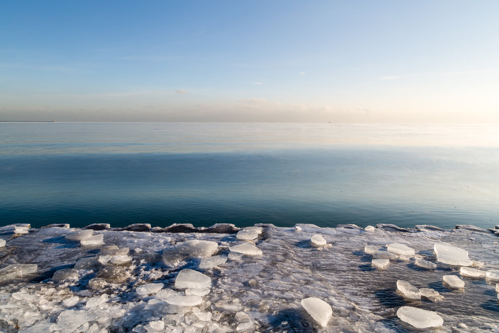Winter ice at the shore of Lake Michigan, Chicago.