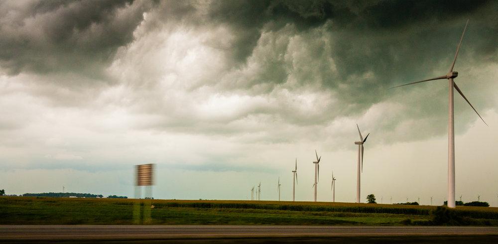 Large wind farms near Remington, Indiana.