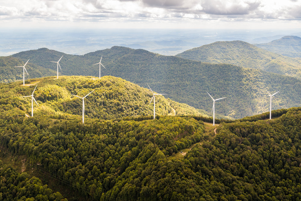 Buffalo Mountain Wind Farm near Oak Ridge, Tennessee, the Southeast's first and currently only wind farm.