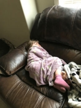 My little one with a sore tummy. This was after she dealt with all the pain. We felt helpless.