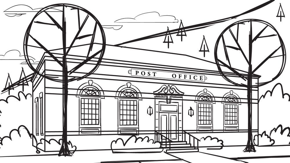 Pre-production sketch of post office for animatic
