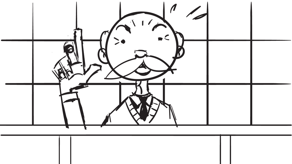 Pre-production sketch of Mr. Shim with background