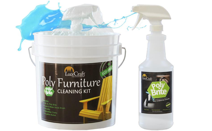 Poly Brite Cleaner - Poly Brite cleaner is formulated for use on LuxCraft™ poly furniture. After extensive research and testing we now offer a product that removes dirt and grime with minimal effort. It is environmentally friendly and contains no harsh chemicals.