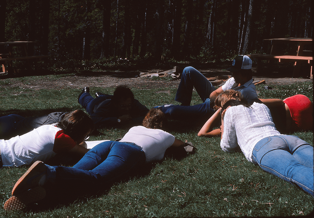 Students Outside at Goldeye, 1984