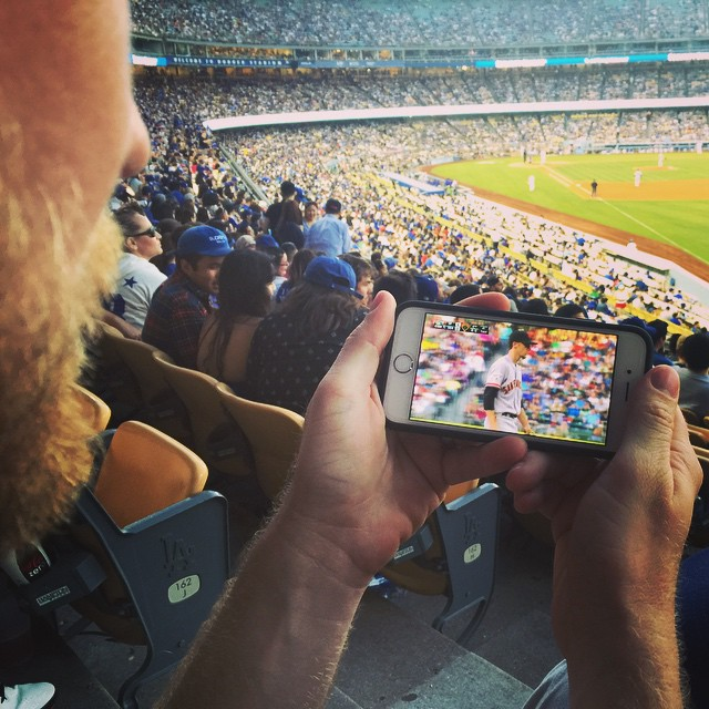 Giants game at the Dodgers game.  #sfgiants #mlbatbat #doublegame
