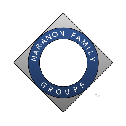 "The Nar-Anon Logo is a square turned to one side with an inner circle. The words wrapped around the circle say ""Nar-Anon Family Groups."""