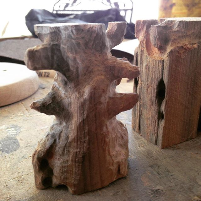 Some hand carved trees for the new heaven and earth pipe holder I am working on. #woodworking #pipes #jacksonvillefl #smoke #art