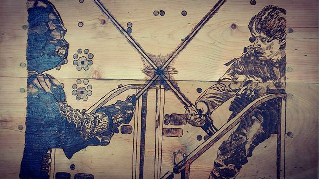 A little closer pic of the #vader vs #lukeskywalker end table.  #woodburning #wood #woodworking #art #starwars #theforce #nerd #geek #cosplay