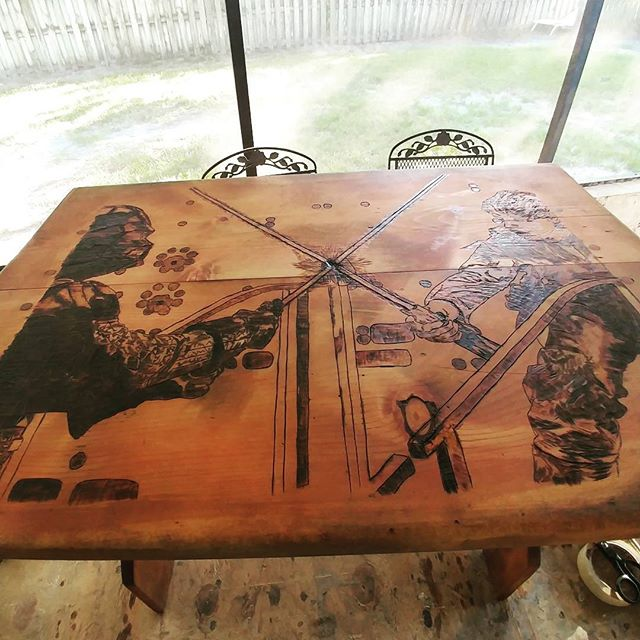 First coat of stain ✔! #vader #starwars #Skywalker #woodburning #wood #woodworking #razortip
