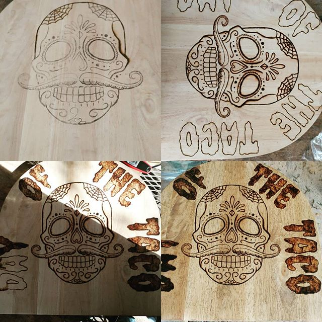 One of the custom bar stools I'm working on for Saucy Taco. #art #woodworking #reclaimedwood #woodburning #tacos #custom