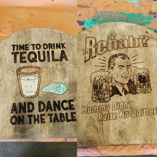 2 more stools almost ready for your friendly neighborhood taco bar! #woodburning #woodworking #tequila #lime #rehab #artistsoninstagram #fun #bar