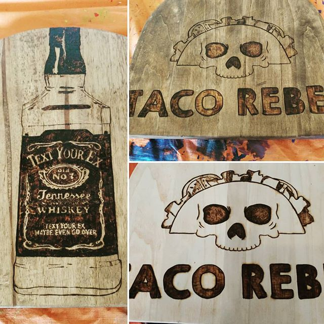 2 more stools almost ready for the ole Saucy Taco! #bar #jackdaniels #woodburning #woodworking #artistsoninstagram #picoftheday #fun #taco #skull