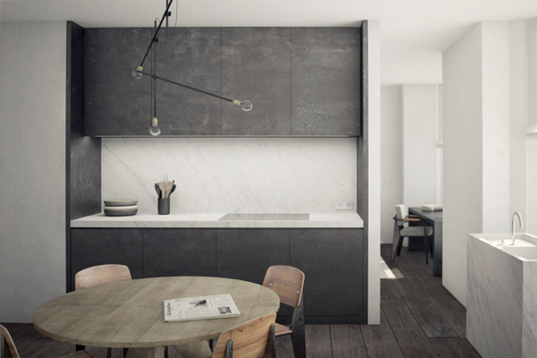 Small Brussels apt. kitchen, NS Architects. || via The Design Edit