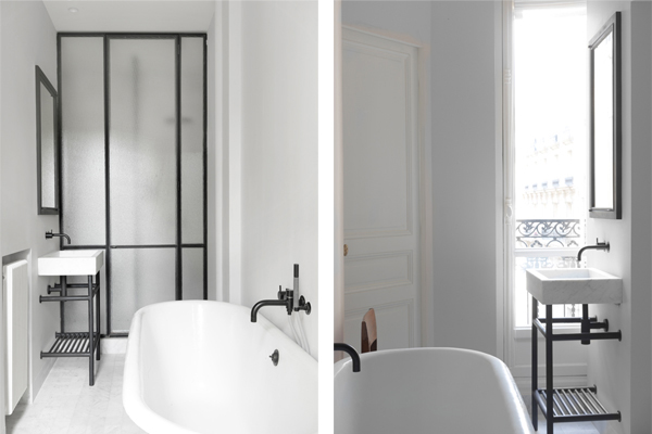 Paris apt. matte black fixtures bathroom, NS Architects. || via The Design Edit