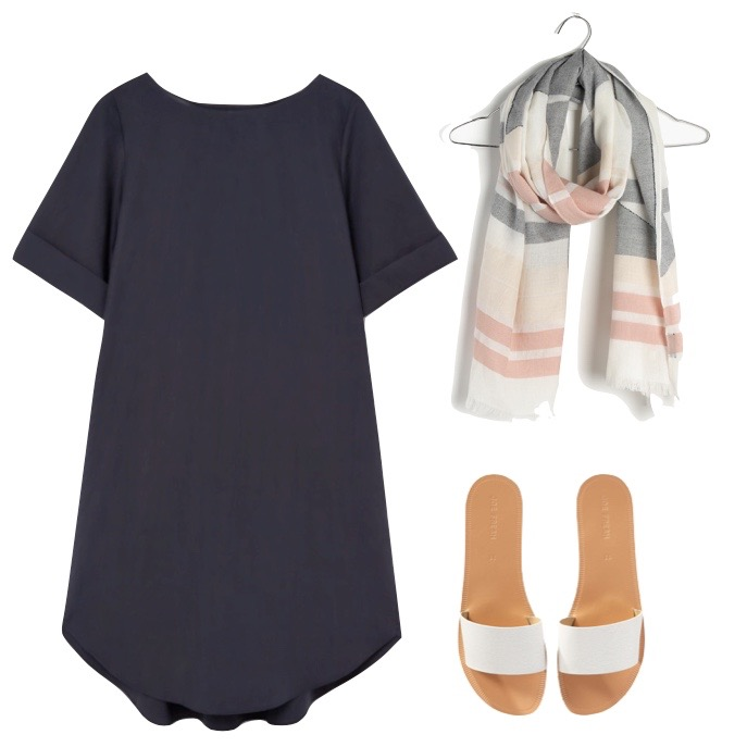 scarf, $40, Madewell ;  single strap sandals , $24, Joe Fresh