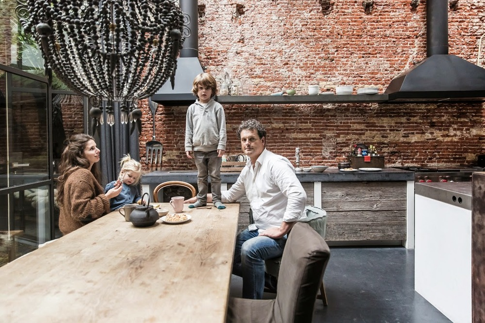 Marius Haverkamp and family in their loft