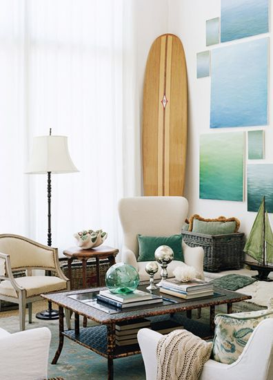 An  Oxnard home by Giannetti Home  with paintings by Steve Giannetti and a spectacular vintage board.