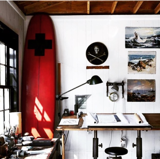 A view of the  Roman & Williams  studio via Instagram. Whodathunk surfboard as office decor? Them apparently.