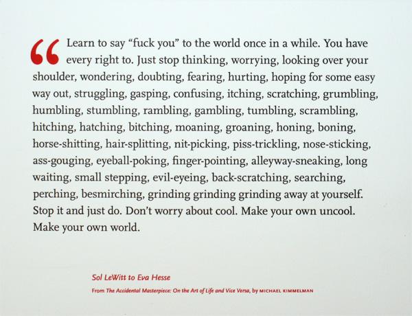 Sol LeWitt letter to Eva Hesse