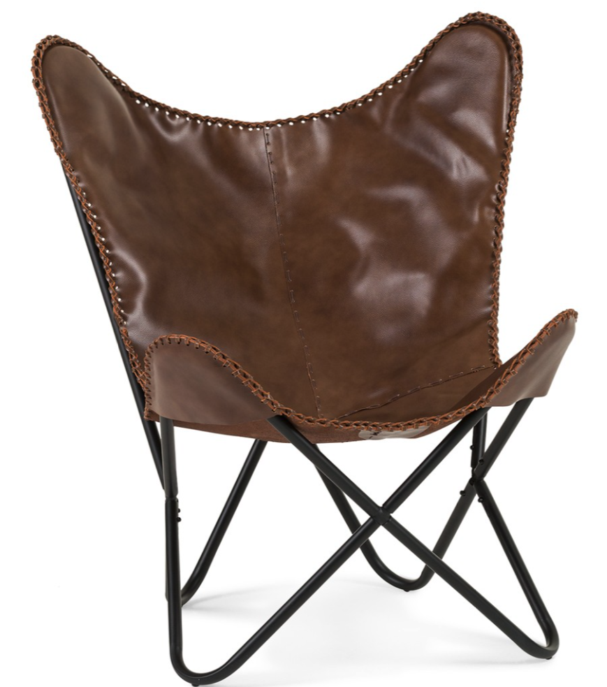 Structube tan leather butterfly chair