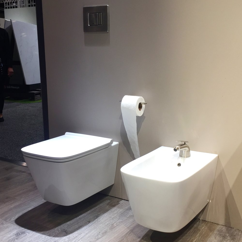 There was simply no avoiding the fact that wall-hung toilets are the biggest design news in the category. This one and its matching bidet are perfect.