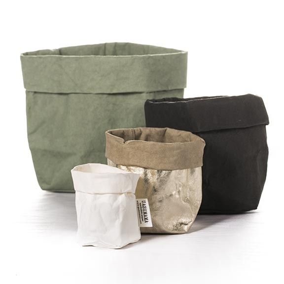 J'adore these — use them as plant cachepots, to stash office stuff, fabric samples, makeup, potatoes, onions, knitting — whatever.  Uashmama  washable paper storage bags, starting at $10.