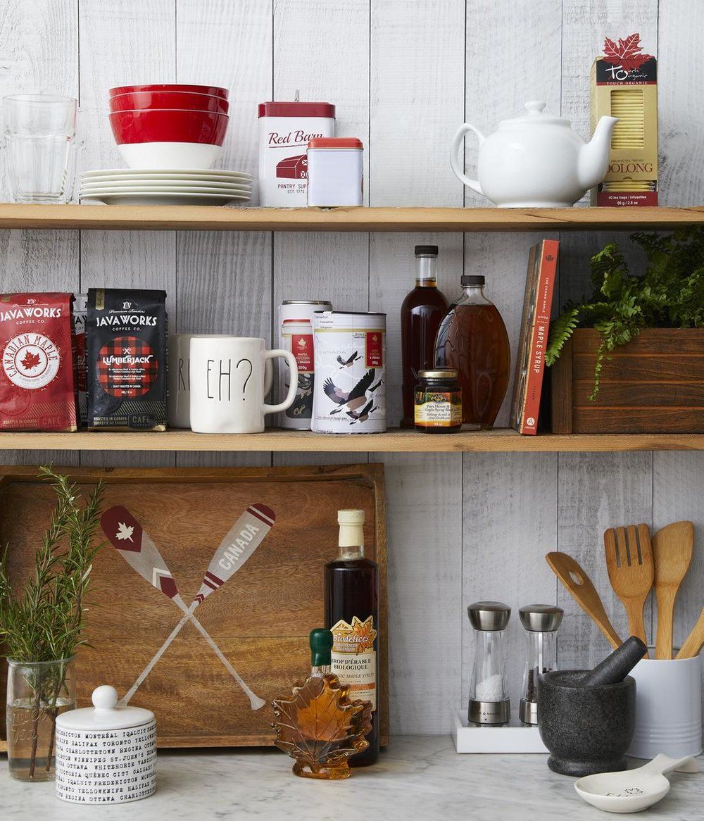 The gourmet product at HomeSense is really stellar. This season they are getting heavily into the maple syrup category. The coffees look good too. That peel-and-stick whitewashed wood wall treatment is also available at HomeSense — love it so much!