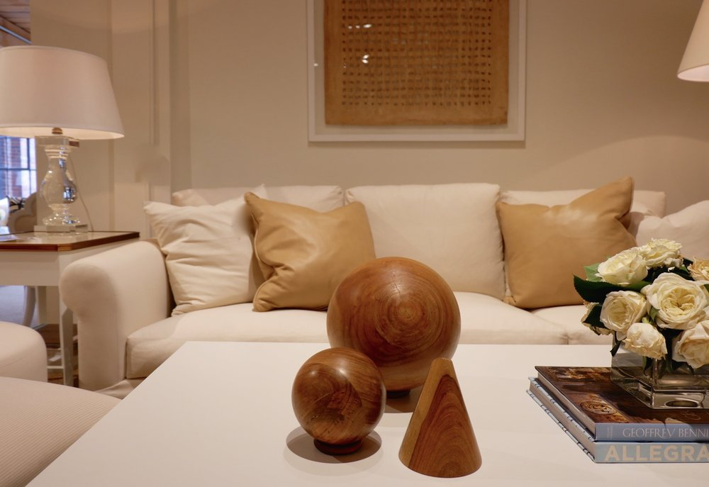 Camel coloured leather pillows at Suzanne Kasler for Hickory Chair.