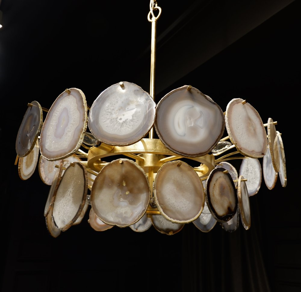 Agate slice chandelier at Bernhardt.